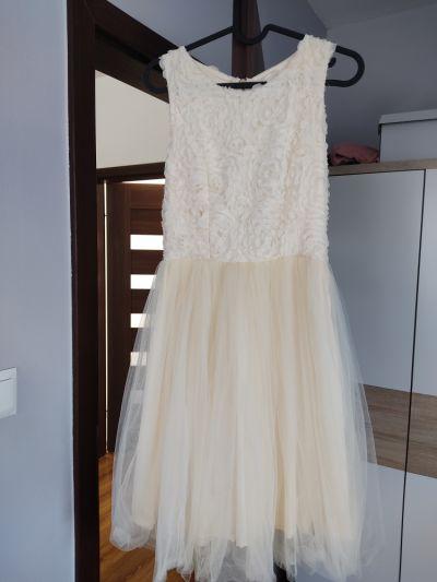 Suknie i sukienki Kremowa sukienka z tiulem