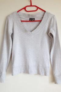 TopShop dresowa ściągacz szara bluza bez kaptura basic długi rękaw dekolt v xs s 34 36 tania