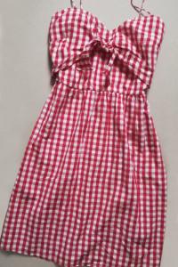 New Look letnia sukienka w kratkę czerwona kokarda r 36 S...
