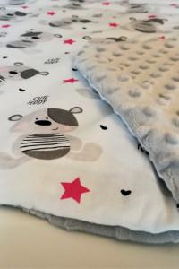 Różowo szary kocyk minky z ociepleniem poduszka gratis