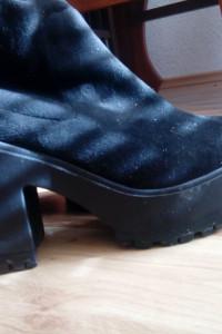 Muszkieterki kozaki czarne overknee zamsz platformy...