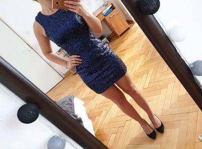 Suknie i sukienki Fioletowa sukienka z cekinami New Look cekiny Sylwester Wesele