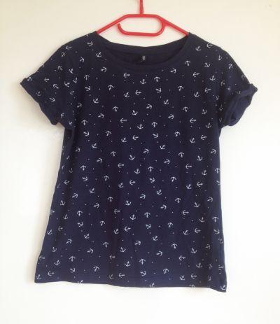 Bluzki Cropp koszulka kotwice granatowa marynarska s 36 34 xs tania używana
