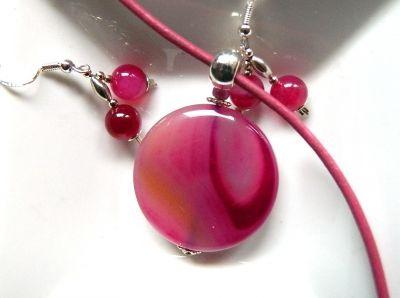 Komplety Różowy agat kamień miłości kobiecy zestaw biżuterii