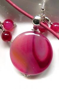 Różowy agat kamień miłości kobiecy zestaw biżuterii...