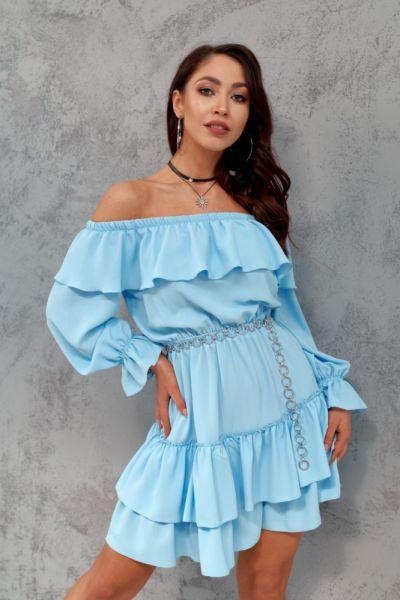 Suknie i sukienki SUKIENKA HISZPANKA KOLORY 36 38 40 BŁEKIT KORAL ZIELEŃ