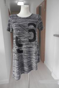 Bluzka Tshirt Tunika Napisy Asymetryczna Papaya S...