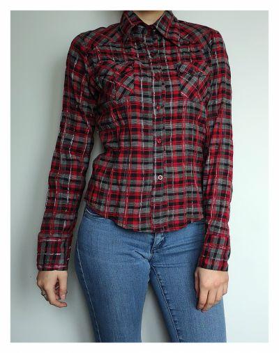 Koszule Czerwono szara koszula w kratkę