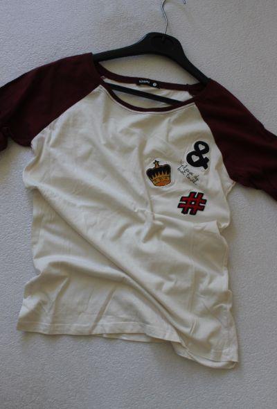 Koszulki biało bordowa koszulka sinsay s