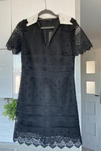 Zara nowa koronkowa sukienka czarna kołnierzyk collar...