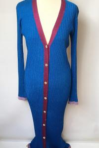 Sweter Sukienka Kardigan Kobaltowy Zara Knit L 40 Long...