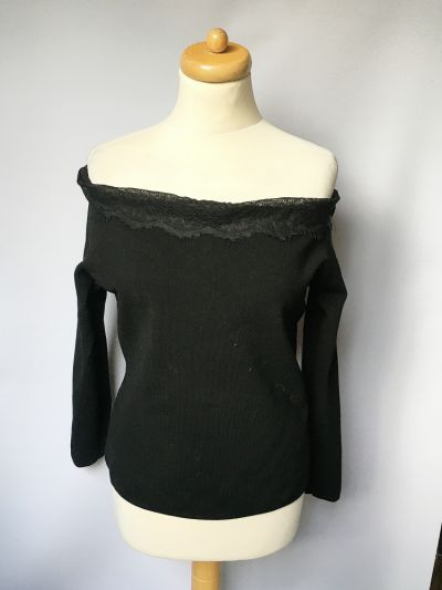 Swetry Bluzka Sweter Hiszpanka Koronka H&M XL 42 Odkryte Ramiona