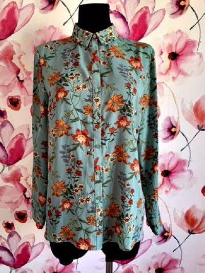 Koszule primark koszula zieleń modny wzór kwiaty jak nowa hit 40