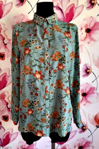 primark koszula zieleń modny wzór kwiaty jak nowa hit 40...