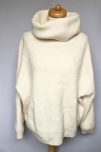 Sweter Golf Kremowy H&M L 40 Wełna Wełniany Oversize...