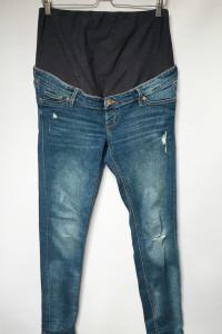 Spodnie H&M Mama Dzinsowe Skinny XL 42 Dziury Przetarcia...