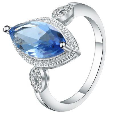Pierścionki Nowy pierścionek podłużna niebieska cyrkonia kamień oczko retro vintage klasyczny