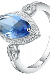 Nowy pierścionek podłużna niebieska cyrkonia kamień oczko retro...