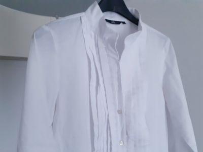 Bluzki Biała bluzka taliowana ze stójką żabot 38 Nife polska marka