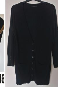 Długi czarny rozpinany sweter rozmiar 44 46 George...