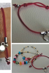 Bransoletka sznurek biżuteryjny kolor biskupi serbro...