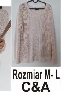Ażurowy sweter C&A pudrowy róz rozmiar M L