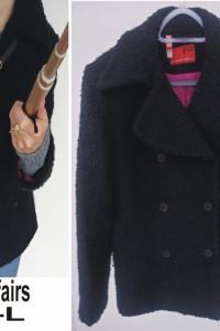 Czarny wełniana kurteczka płaszcztk bosmanka rozmiar M L