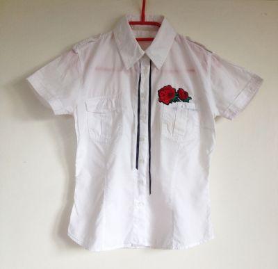 Koszule Top Secret M koszula biała z krótkim taliowana rękawem 38 hand made diy róża wstążka