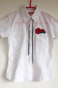 Top Secret M koszula biała z krótkim taliowana rękawem 38 hand made diy róża wstążka