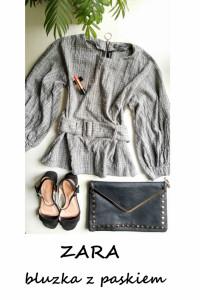 Elegancka bluzka z paskiem ZARA M L bufiaste rękawy kratka...