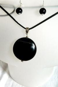 Onyks kamień wytrwałości wisior i kolczyki zestaw biżuterii...