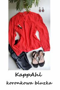 Czerwona elegancka koronkowa bluzka L XL Kapp Ahl basic...