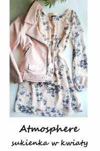 Pudrowo beżowa sukienka w kwiaty S M Atmosphere rozkloszowana d...