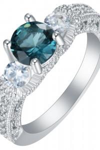 Nowy pierścionek srebrny kolor niebieska cyrkonia retro vintage...