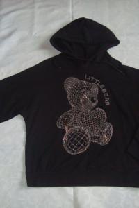 Nowa czarna bluza cyrkonie miś roz S M