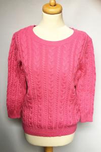 Sweter Różowy H&M Basic L 40 Warkocze Alpaka...