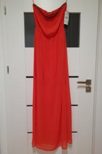 ZARA TRF S M długa maxi czerwona sukienka long...