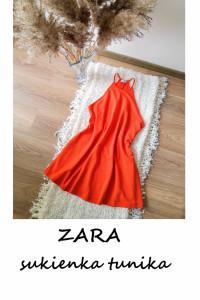 Czerwona sukienka tunika ZARA basic minimalizm...