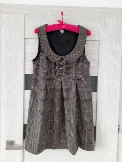 Suknie i sukienki Beżowa sukienka w kratkę