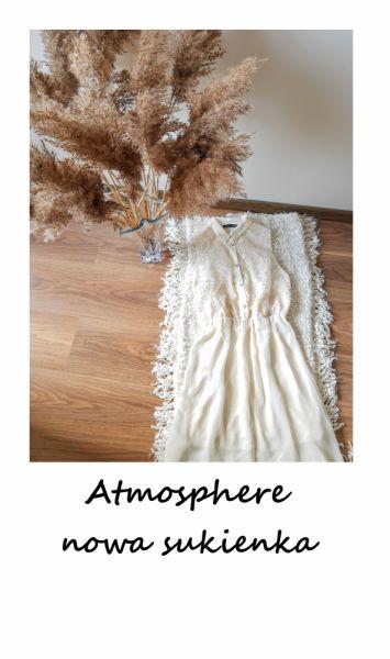 Suknie i sukienki Nowa kremowa sukienka z koronką Atmosphere wyszywana rozkloszowana asymetryczna wesele impreza