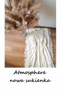 Nowa kremowa sukienka z koronką Atmosphere wyszywana rozkloszow...