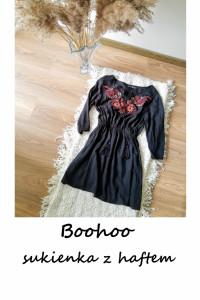 Rozkloszowana czarna wyszywana sukienka w kwiaty S M boho hippi...