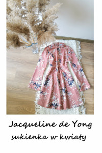 Sukienka z szerokim długim rękawem XS S w kwiaty Jacqueline de ...