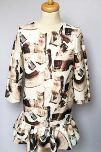 Sukienka H&M XS 34 Falbanka Wzory Elegancka Wizytowa...