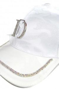 Biała czapka z daszkiem cyrkonie uni