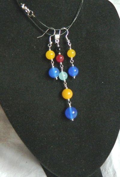 Komplety Kolorowe agaty wisiorek i kolczyki delikatny zestaw biżuterii