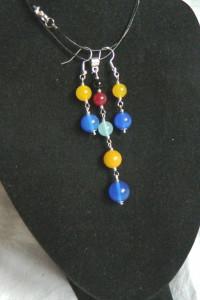 Kolorowe agaty wisiorek i kolczyki delikatny zestaw biżuterii...