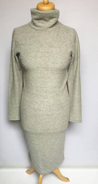 Suknie i sukienki Sukienka Szara Vero Moda M 38 Golf Ołówkowa Elegancka