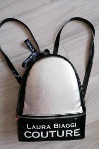 Laura Biaggi skórzany plecak silver i lakier...