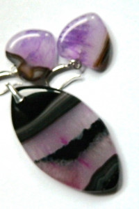 Agat i kryształ wisiorek i kolczyki serduszka komplet biżuterii...